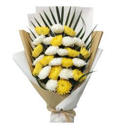 永远怀念-白菊花、黄菊花共计25朵,搭配散尾葵叶