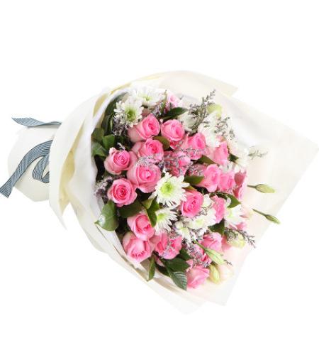 百花仙子-苏醒玫瑰19枝,粉色桔梗2枝,白色小菊4枝,搭配情人草适量