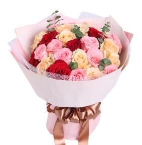梦想缤纷-戴安娜粉玫瑰11枝+香槟玫瑰13+红玫瑰5枝