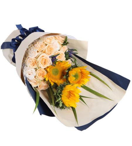 阳光满溢-香槟玫瑰15枝,向日葵3枝