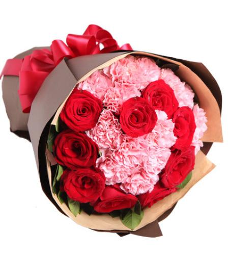 你的笑靥-13枝粉康乃馨,9枝红玫瑰