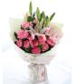 恩情无限-粉色康乃馨11枝,百合2枝