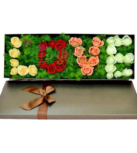 爱就爱了-33朵玫瑰花(香槟玫瑰+红玫瑰+粉玫瑰+白玫瑰)