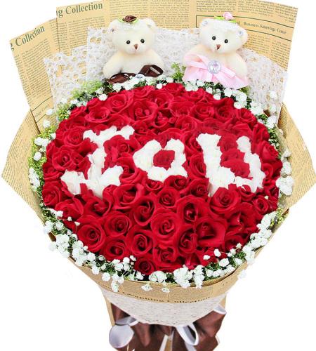 show爱花语-红玫瑰、白玫瑰共99枝,白玫瑰显示IOU字样