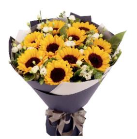 幸福安康-10枝向日葵,10枝洋桔梗,栀子叶