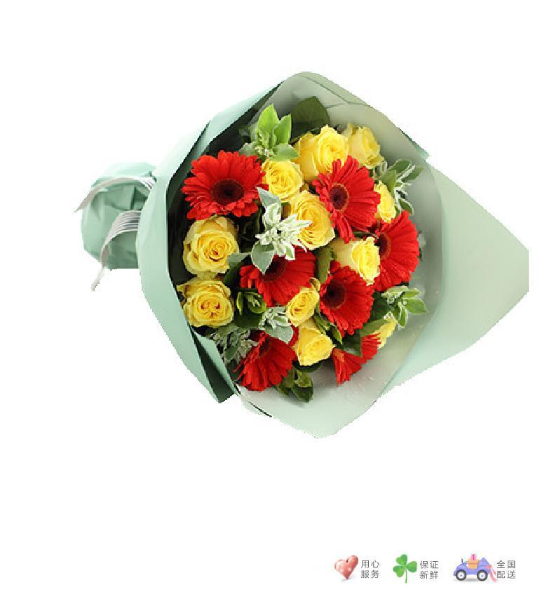 晴日-金枝玉叶黄玫瑰11枝、红色扶郎7枝-鲜花速递