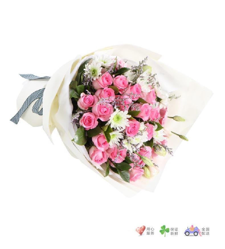 百花仙子-苏醒玫瑰19枝,粉色桔梗2枝,白色小菊4枝,搭配情人草适量-鲜花速递
