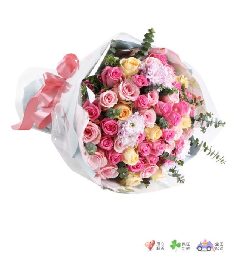 粉色浪漫-香槟玫瑰8枝,粉佳人13枝,苏醒玫瑰29枝-鲜花速递