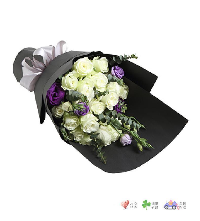 北极雪-雪山白玫瑰19枝,紫色桔梗3枝-鲜花速递