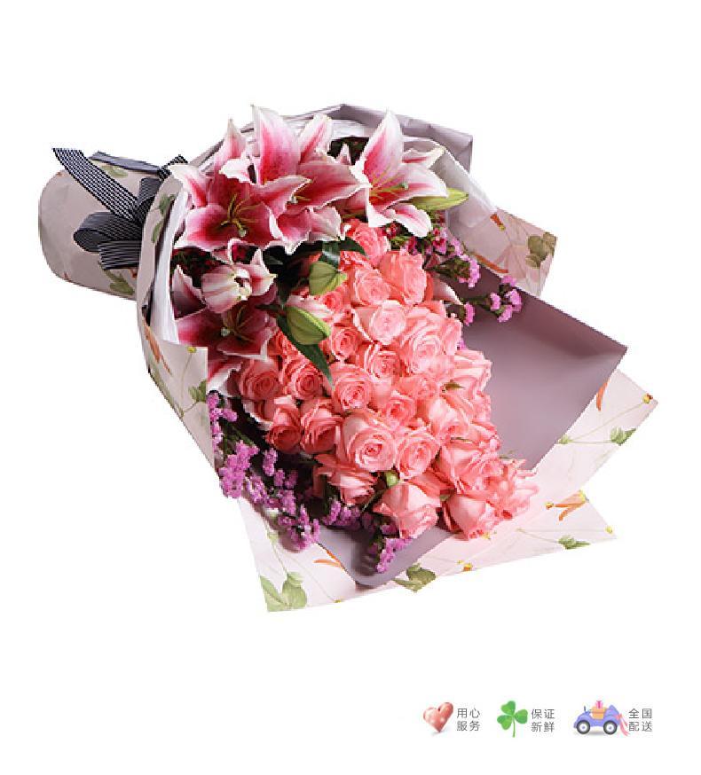 甜蜜物语-黛安娜粉玫瑰33枝,粉色香水百合3枝,搭配适量粉色勿忘我-鲜花速递