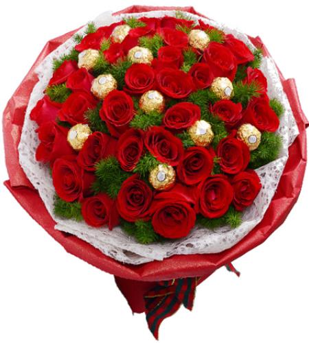心为你跳动-33朵红玫瑰,11颗巧克力,搭配蓬莱松