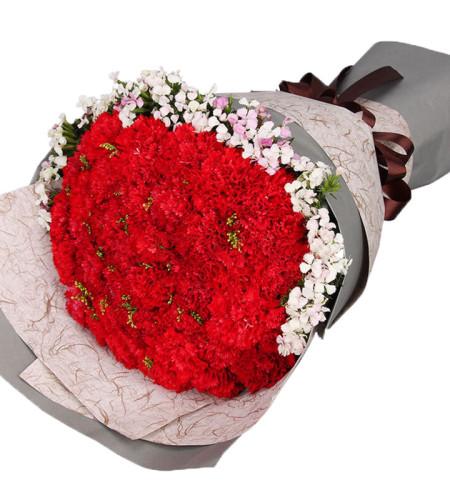 母爱无价-33枝红色康乃馨,搭配相思梅