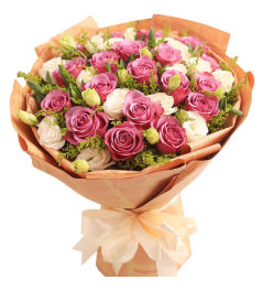 给她幸福-19朵紫玫瑰,间插桔梗,黄莺