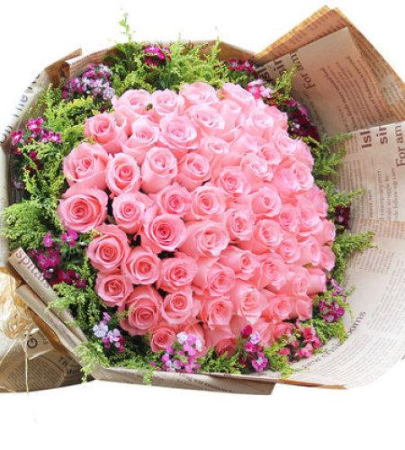 唯一感觉-66朵粉玫瑰,搭配黄莺、相思梅
