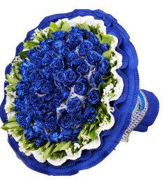 最浪漫的爱-50朵蓝色妖姬,相思梅、栀子叶