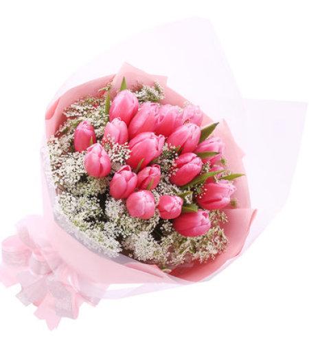 完美的爱-21朵粉色郁金香,搭配情人草