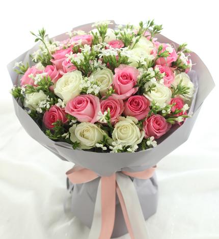 双子座守护花-苏醒玫瑰20枝、雪山玫瑰13枝实拍图片