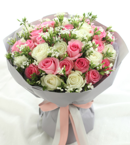 双子座守护花-苏醒玫瑰20枝、雪山玫瑰13枝