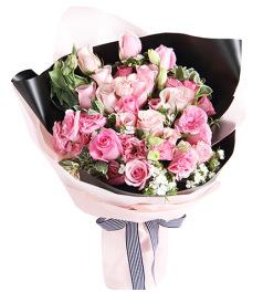粉色心情-苏醒玫瑰6枝,粉佳人玫瑰13枝,粉色桔梗6枝