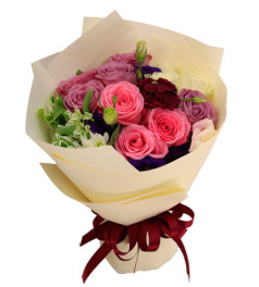 马尔代夫的假日-紫玫瑰6枝,粉玫瑰3枝、白玫瑰3枝