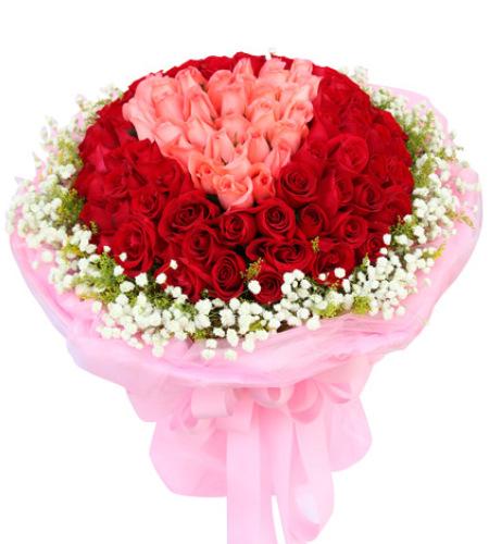 用心爱你-99枝精品玫瑰花束(求婚花束)