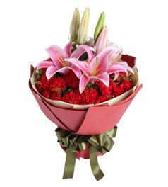 感激-29枝红康乃馨,2枝粉百合