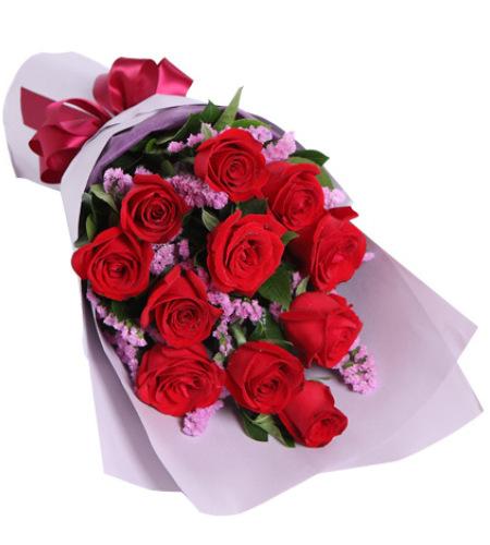 爱的纪念日-红玫瑰11枝,勿忘我、栀子叶