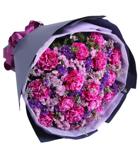 紫为你动馨-16枝紫康乃馨,适量粉+紫勿忘我