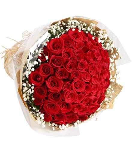 心上人-红玫瑰66枝,满天星围绕