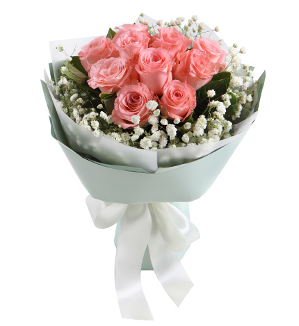 纯美时光-戴安娜粉玫瑰11枝,搭配白色满天星栀子叶实拍图片