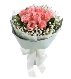 纯美时光-戴安娜粉玫瑰11枝,搭配白色满天星栀子叶