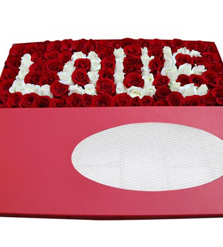 I LOVE YOU-精选红玫瑰、白玫瑰99朵,白玫瑰LOVE造型