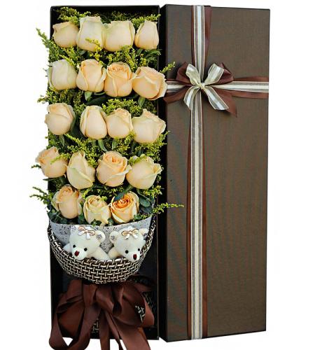 致优雅-19朵香槟玫瑰鲜花礼盒