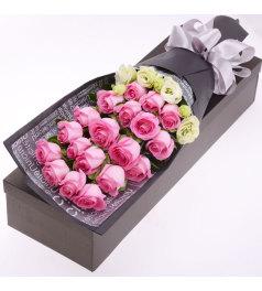 夏日简爱-19枝粉玫瑰,桔梗搭配