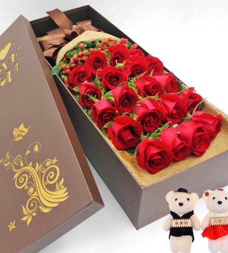 19朵红玫瑰礼盒(随机赠2公仔)