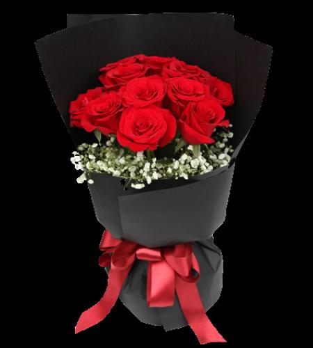 黑夜之光-红色玫瑰11枝,满天星