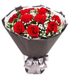 恒久誓言-11朵红玫瑰,间插满天星
