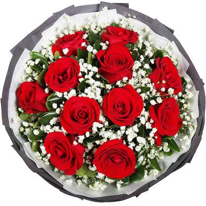 11朵红玫瑰+满天星