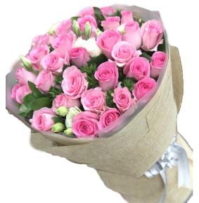 诠释爱情-33枝苏醒玫瑰,5-6枝白色桔梗