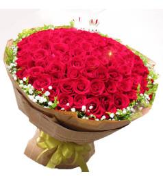 永恒的爱情-红玫瑰99枝,满天星、黄莺围绕一周