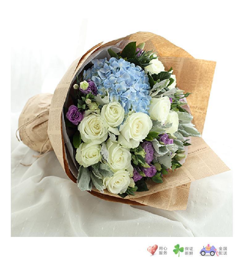 金牛座守护花-白玫瑰11枝、浅蓝绣球1枝、浅紫色洋桔梗5枝-鲜花速递