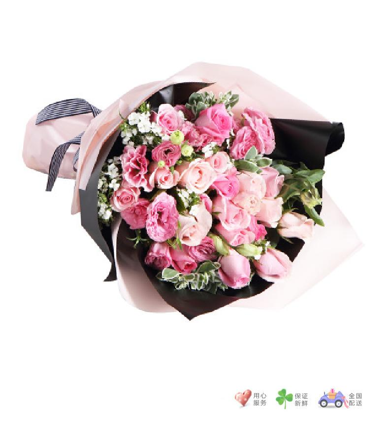 粉色心情-苏醒玫瑰6枝,粉佳人玫瑰13枝,粉色桔梗6枝-鲜花速递