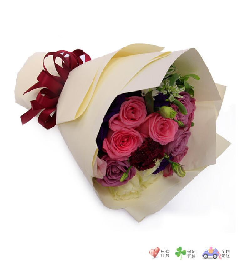 马尔代夫的假日-紫玫瑰6枝,粉玫瑰3枝、白玫瑰3枝-鲜花速递