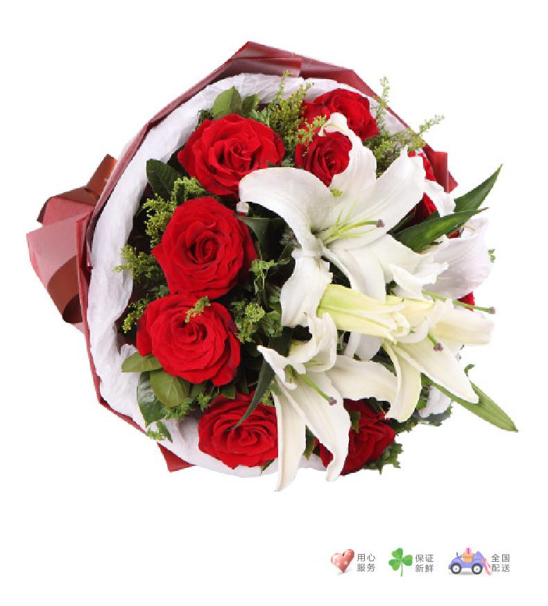 缘份-11枝红玫瑰,2枝多头白香水百合-鲜花速递