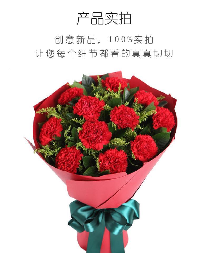 幸福花园-红色康乃馨11枝实拍图片