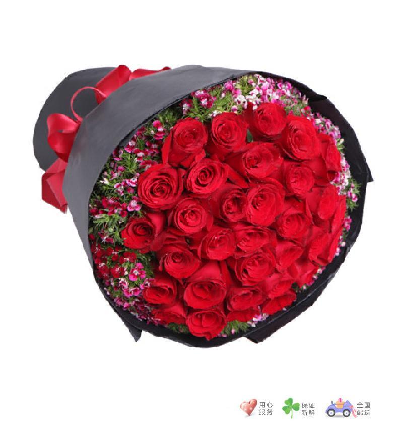 忘情巴黎-33枝红玫瑰-鲜花速递