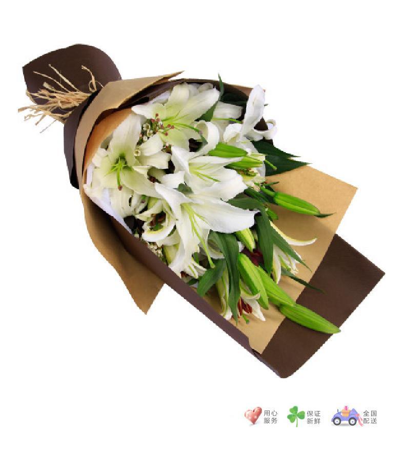 青青子衿-白色多头香水百合6枝-鲜花速递