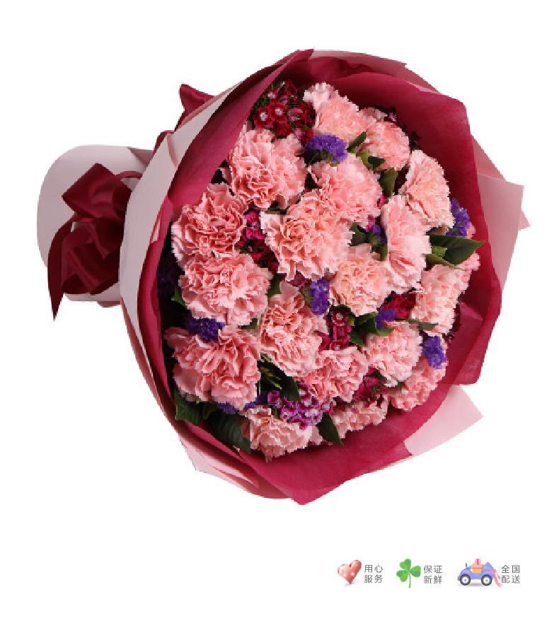 幸福绽放-粉色康乃馨19枝-鲜花速递