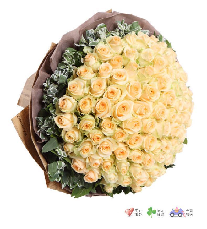 恋恋不忘-香槟玫瑰99枝,叶上花围绕-鲜花速递