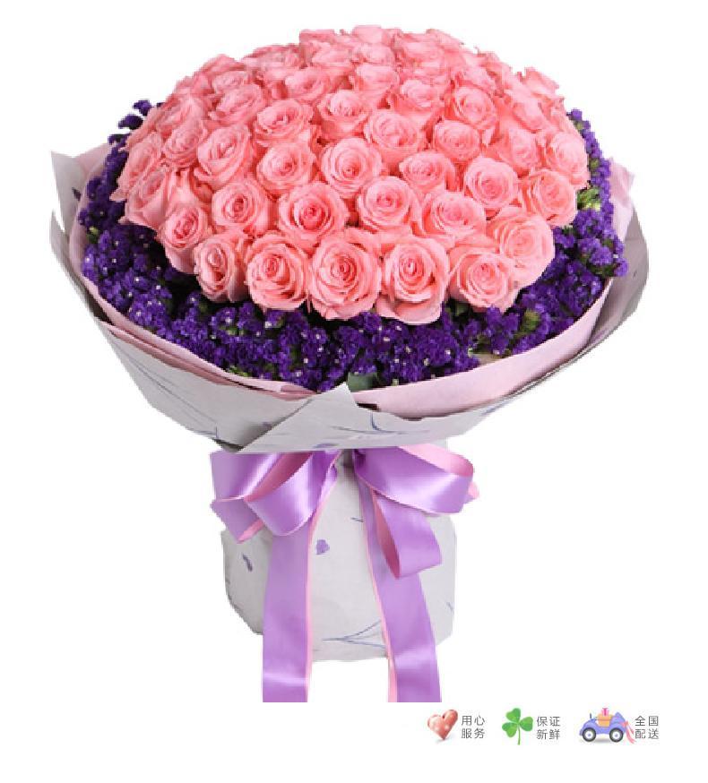 不变的心-戴安娜玫瑰66枝-鲜花速递